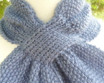 Handmade Blue scarflette, first photo is the accurate colour. Chunky and warm.