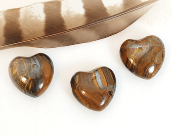 TIGER IRON Heart STONE | Tigers Eye Hematite Crystal | Recovery Gift, Wedding Favor, Remembrance Gift, Chakra Energy Healing Stone