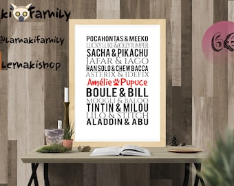Personalized poster - animal pet Duo