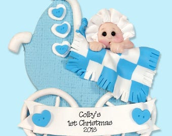 1st Christmas Personalized Baby Boy Ornament - HANDMADE Polymer Clay Ornament - Limited Edition