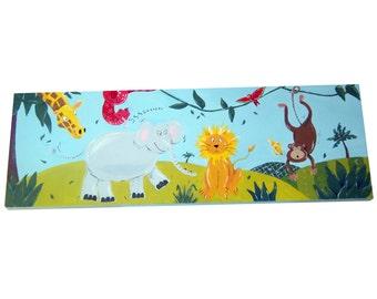 Jungle Animal Painting / Canvas / Children's Art / Nursery Decor / Lion / Monkey / Elephant