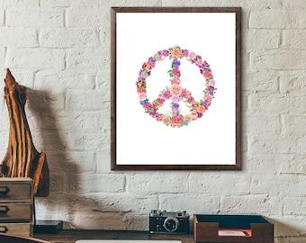 Peace Sign - Peace Sign Art - Peace Print Art - Peace Sign Wall Art - Boho Art - Bohemian Art - Boho Decor - Bohemian Decor - Hippie Art