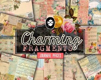 Journaling Kit - Charming Fragments - 13 Journaling Pages - art journal kit, junk journal cover, junk paper pack, digital paper pack