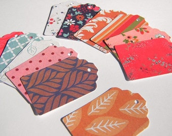 Paper tags - 12 printed paper tags - embellishments - gift or favor tags - scrapbook supplies -  colorful tags - sale tags - hb
