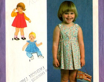 1979 Toddlers' JUMPER Sundress TOP Pants PATTERN Simplicity #9055 Size 1 Pleated Vintage Girls' Sewing