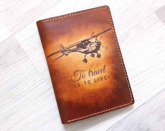 To travel is to live/Leather Passport Wallet/Passport Cover/Passport Holder/Custom passport holder/travel gifts/custom leather passport