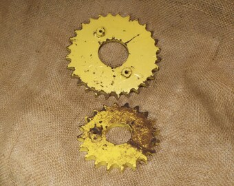 Metal Gears, Cogs, or Sprockets, Two Yellow Industrial Gears, Rusty Factory Industrial Salvage