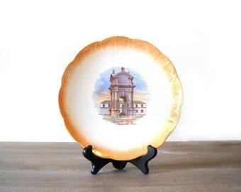 Plymouth Rock Souvenir Plate, Thanksgiving Decor, National China Orange Lustre Serving Plate, Plymouth Mass Souvenir Dish