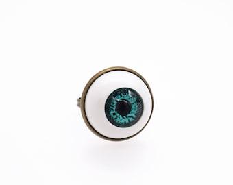 Turquoise eyeball eye ring bronze size adjustable statement ring jewellery