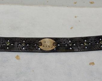 Be Kind Inspirational Leather Cuff Bracelet