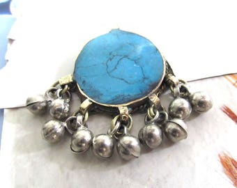 Turquoise Afghan Pendant, Silver Bell Dangles, Blue Gemstone Pendant, Blue and Silver Kuchi
