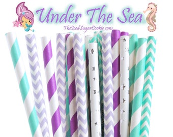 Mermaid Under The Sea Paper Straws-Birthday Party, Baby Shower, Ariel Mermaid Birthday Party Paper Straws by The Iced Sugar Cookie