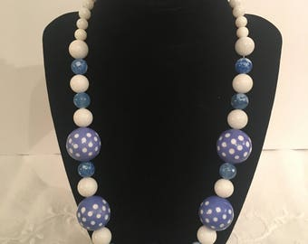 Chunky, Dutch blue and white, polka-dot necklace