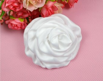 3 inch Satin Rolled Rosettes,White,Satin Flower,Ruched Rosettes,Satin rosettes,Rolled Rosettes,Wholesale ,Supply BF01