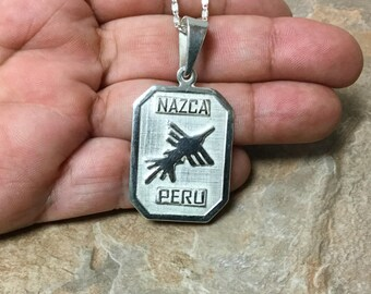Sterling Silver Nazca Lines Pendant, 950 Sterling Silver Nazca Pendant, Nazca Lines Pendant