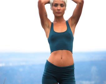 Cropped Yoga Layering Tank Top for Women - Spruce Green - Eco Friendly - Fitted - Organic Clothing