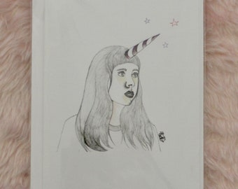 Unicorn Girl Fine Art Illustration Print