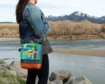 Catching Light  KPOTTER Limited Edition Flap Messenger Bag Trout Fish