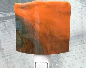 Night Light, Wall Plug In, Orange and Green Art Glass, Decorative Home Accent