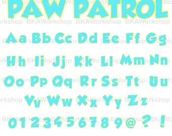 Paw Patrol rounder svg - Paw Patrol rounder font - Paw Patrol rounder font digital clipart for Design or more, files download svg, png, dxf