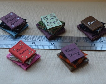 Stack of dollhouse books, witch, magic, fairy, spell books, one inch scale miniature, fantasy