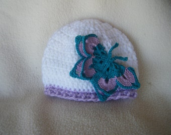 Beautiful White Crocheted Hat With Turquoise and Lavender Butterfly- Made to Order