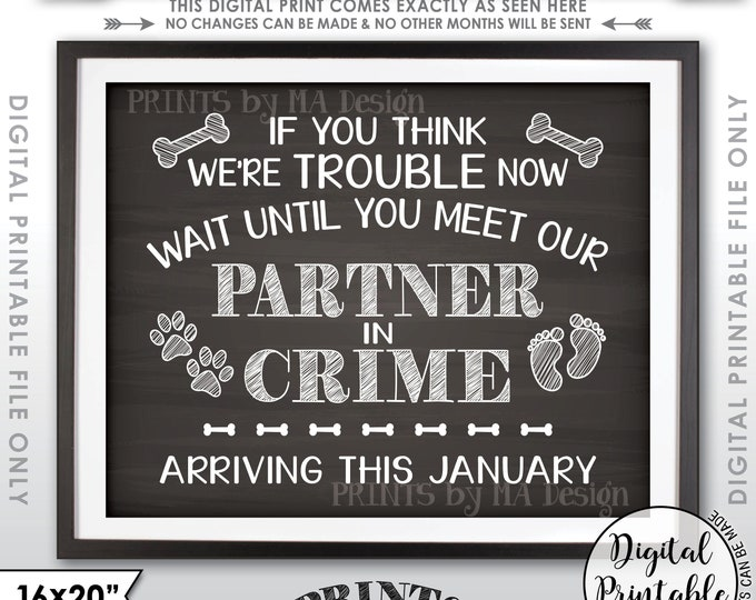 Partners in Crime Dog Pregnancy Announcement, Meet Our Partner in Crime in JANUARY Dated Chalkboard Style PRINTABLE Baby Reveal Sign <ID>