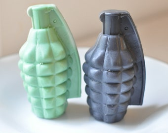 Grenade Soap - Man soap gift for him fathers day - Handmade Glycerin Soap - mens soap - Army Green