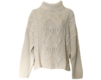 Vintage Cable Knit Sweater 90s White Oversized One Size