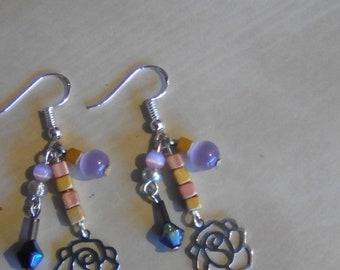 Earrings DANGLE pink beads