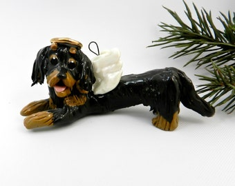 Angel Dachshund Longhair Black Tan Porcelain Christmas Ornament Figurine Clearance