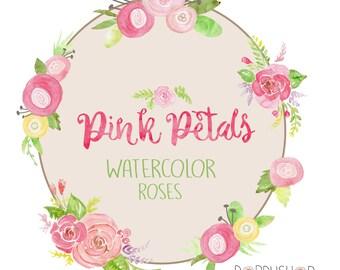 PINK PETALS - Watercolor Roses - 7 PNG images - Instant Digital Download