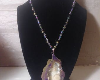 Erin Giant Geode Beaded Long Necklace