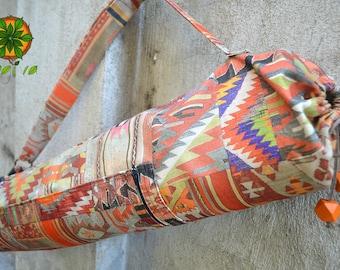Yoga mat bag aztec ethnic tribal pattern boho zipper pocket sturdy orange tote yoga accessories earthy yoga fashion