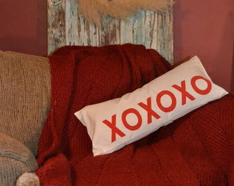 XOXOXO VALENTINES Hugs and Kisses PILLOW … Hand  Screened on Reclaimed Linen Duck Cloth