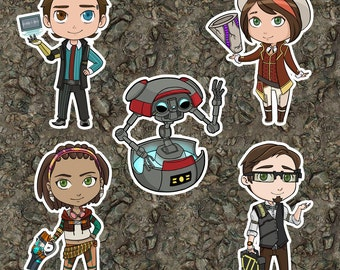 Tales From The Borderlands Laminated Keychains - Rhys, Fiona, Sasha, Vaughn, & Gortys
