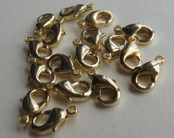 20 Gold plated brass 10mm lobster clasps
