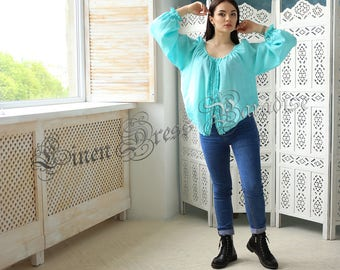 Ready to ship! 6US! Valentine's Gifts Oversize Linen Top Bohemian Top Mint Shirt Linen Top Linen Kimono Tunci Easy. Available in 24 Colors
