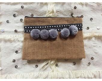 Marrakesh Bag,Moroccan Bag, Moroccan Clutch, Coachella Bag, Moroccan handbag,Boho Clutch,Pom-Pom Clutch,Gypsy Clutch,Bohemian Bag,Summer Bag