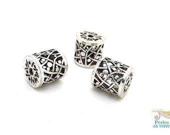 1 large cylinder 16x17mm (pm193) nickel silver metal filigree bead