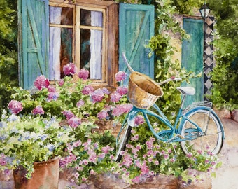French Country Garden Bicycle Art Watercolor Giclee