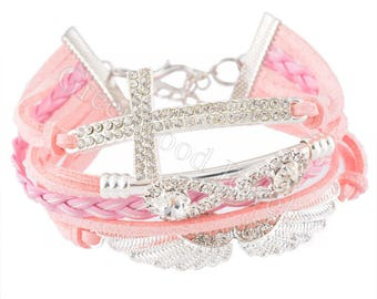 New Fashion Multilayer Bracelets Pink Cord-Leather - Angel Wing, Cross, Infinity, Clear Rhinestone 24cm (9in)