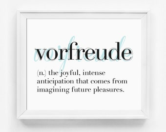 Inspirational Quote, Vorfreude, Wall Art, Typographic Print, Word Art, Office Art, Typography Poster, Dictionary Print, Word Definitions