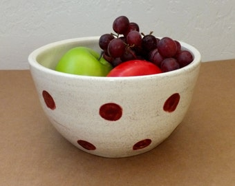 Large Rustic White with Brick Red Polka Dot Ceramic Mixing Bowl