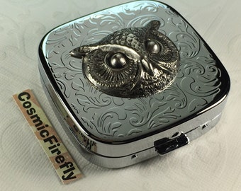 Silver Owl Pill Case Pill Box Steampunk Mirror Case Silver Plated Metal Pill Case Gothic Victorian Steampunk Accessories