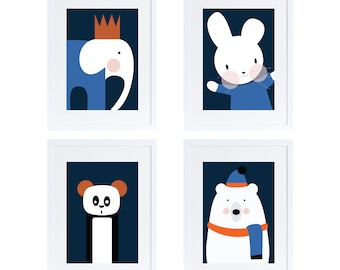 Four animals print set/ kids rooms decor/ poster/ illustration/ minimal