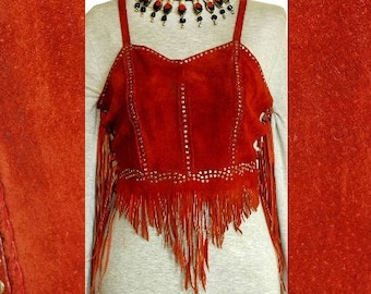 Silver studded red suede and fringes WOODSTOCK bustier TOP