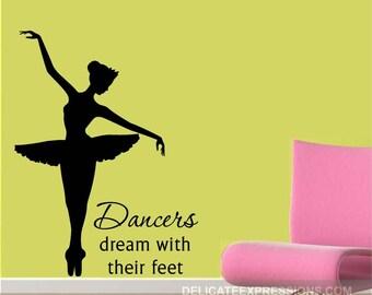 Ballerina Decal - Ballerina Wall Decal Silhouette - Ballet Decal - Ballet Wall Decal - Ballet Decor - Ballerina Decor - Vinyl Decal