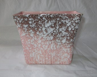 "6"" Royal Copley ""Parallel Rays"" Vase, Pink & Brown (1950s Mid-Century Mod)"