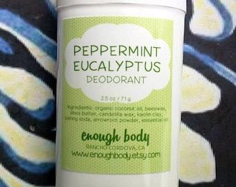 Peppermint Eucalyptus Natural Deodorant Stick ~ Aluminum Free Deodorant